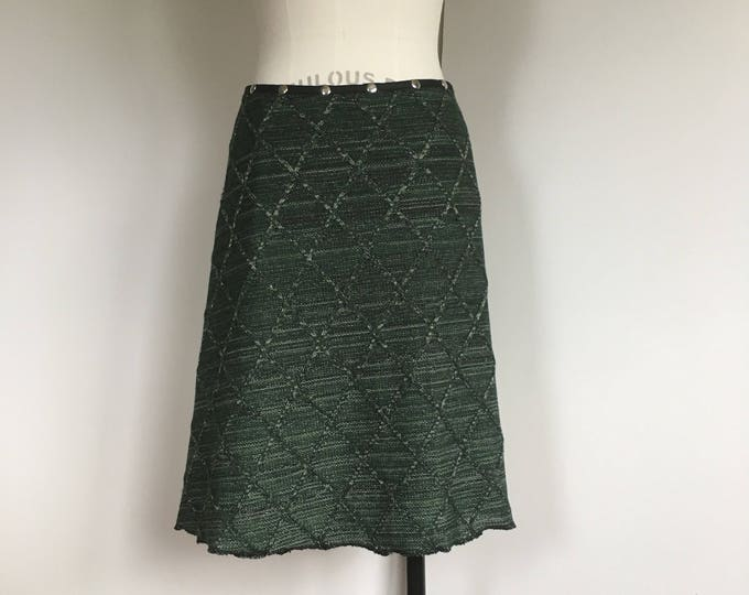 Skirt for women, winter skirt, midi skirt, snap skirt, sweater skirt, warm skirt, wrap skirt, knit skirt, green skirt