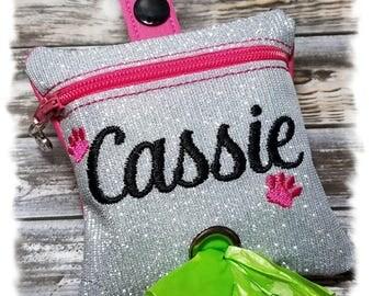 Dog Poop Bag Holder, Dog Poop Bag Dispenser, PERSONALIZED Waste Bag Holder, Leash Dispenser,Zipper Bag, Leash Accessory, Dog Duty Bag