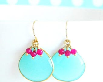 SALE Aqua Chalcedony and Faceted Ruby Gemstone Earrings