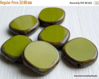 25% OFF Sale 15mm Coin Opaque Green Picasso Beads - 6 Czech Picasso Beads . Czech Glass Beads (G - 709)
