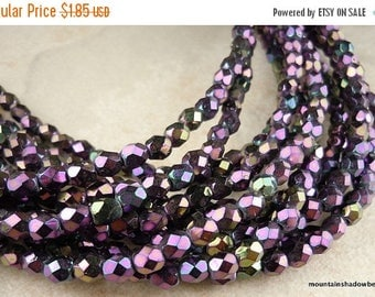 25% OFF Sale Czech Glass Beads - Purple Iris 4mm Faceted Round 50 pc (G 33)