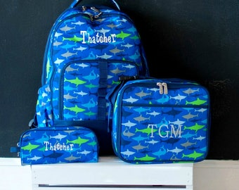 Personalized Boys Backpack or Set | Shark Bookbag | Personalized Shark Lunch Box | Personalized Boys Pencil Case | Boys Back to School Bags