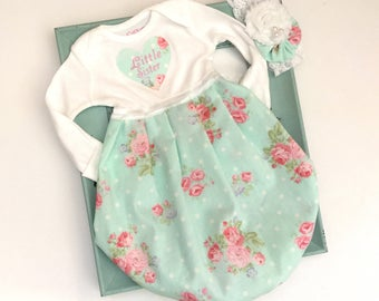Little sister baby gown.. shabby chic aqua and rose print.. new baby -- baby shower