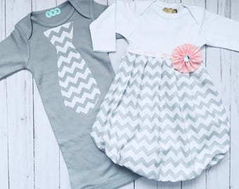 SIBLING twin set.... Brother and sister newborn outfits--- grey chevron gown and solid grey chevron tie gown-children's clothing