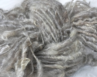 Art Yarn Handspun -NATURAL BEAUTY Textured, Bulky, crochet, weaving, knit, craft supplies,  doll hair 72yds