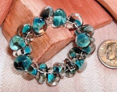 UNICORNE  Beads - 18 TEARDROP 8mm x 6mm Borosilicate Beads in Arizona TURQUOISE