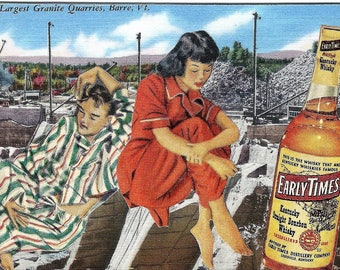 Early Times...The Morning After OOAK Original Collage Altered Retro 1960s Linen Postcard Humor Surreal Kentucky Bourbon Whisky
