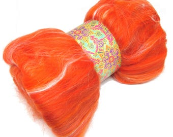 Carded Batt Merino & Silk Satsuma Fine Merino Wool for Spinning or Felting 100g 3.5oz