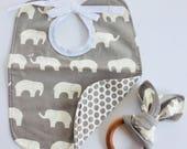 Grey elephant bib and teething ring set