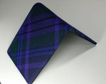 Mens  wallet slimline Spirit of scotland Tartan billfold   7 Pocket Plaid Bifold wool billfold standard size