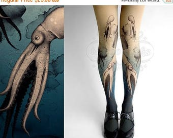 ON SALE/// Closed Toe nude color one size Octopuses full length printed tights pantyhose