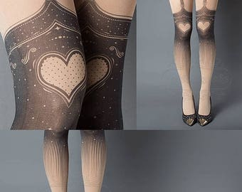 SALE///endsAug22/// Tattoo Tights, Burlesque Heart garters print Nude thigh highs illusion one size full length printed tights pantyhose, by