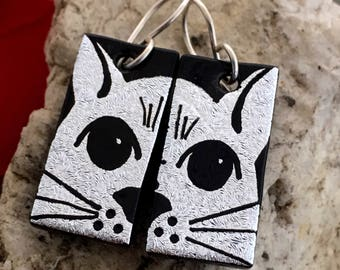 CAT Dichroic Glass Earrings - Hand Etched Split Design Silver Glass Art