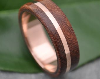 Size 10.25, 6mm READY TO SHIP Rose Gold Solsticio Nacascolo Wood Ring - 14k rose gold, pink gold wood wedding band, wood ring with rose gold