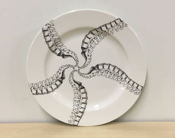 10.5 inch Spine Pinwheel Spiral Pattern Dinner Plate, chiropractor, spinal column, medical gift, doctor gift, goth tableware, halloween