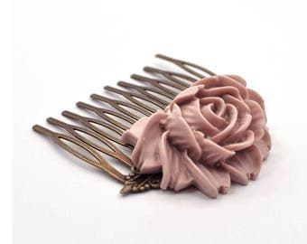 Dusty Rose Hair Comb, Pink Hair Comb, Wedding Hair Comb, Bridal Hair Comb, Large Hair Comb, Resin Hair Comb, Floral Resin Hair Comb
