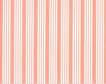 The Good Life - Stripe in Coral Pink: sku 55157-13 cotton quilting fabric by Bonnie and Camille for Moda Fabrics