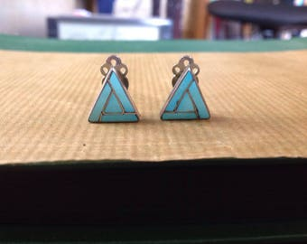 Vintage Zuni Turquoise Inlay Sterling earrings, Vintage Zuni Turquoise Earrings,  Native American Turquoise Sterling Zuni Earrings
