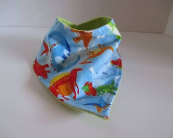 Bandanna bib, blue, dinosaurs, baby bib, infant bib, baby accessory, baby shower, infants, babies, newborns, drooling, spit up, feeding