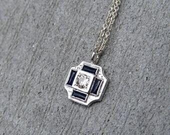 Deco 14k White Gold Diamond and Sapphire Pendant