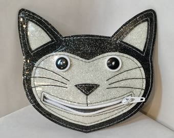 Cat Coin Purse, Cat change purse, Cat lover Gift, Tuxedo Happy Cat