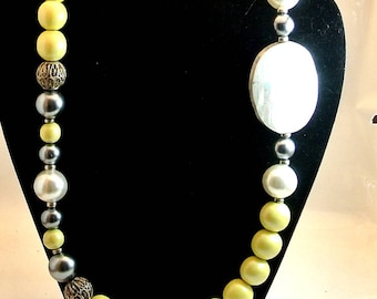 Yellow and White Bead Necklace Vintage Bead Necklace  31 Inch Long Necklace Yellow White and Silver Beads Costume Jewelry