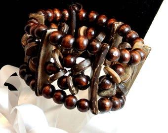 Wood Bead Cuff Bracelet Vintage Bracelet Wide Cuff Bracelet Brown Wood Stretch Bracelet Boho Wood Bracelet