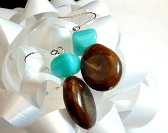 Chunky Brown and Turquoise Bead Dangle Earrings Two Bead Earrings Southwest Earrings Vintage Earrings Large Bead Earrings