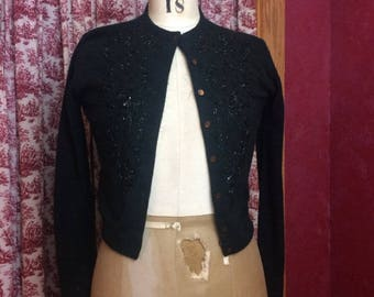 Vintage Black Sequin Sweater by Sira of New York, Ladies Small Beaded Cardigan, Mid Century Fashion Knit Clothing