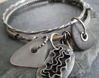 Silver Bangle Bracelet Boho Charm Bracelet Beach Stone Beach Glass Funky Sterling Bangle Charm Bracelet Boho Beach Lover Gift Beach Jewelry