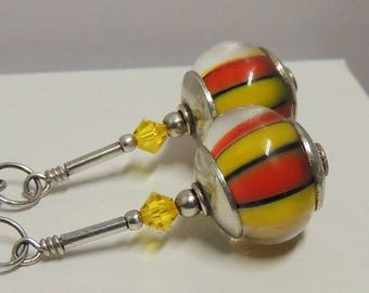 PLAYTIME Handmade Lampwork Dangle Earrings Leverback Sterling Silver