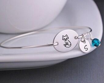 Woodland Jewelry, Fox Bangle Bracelet, Personalized Fox Jewelry, Fox Bracelet Gift
