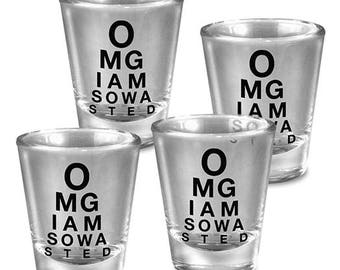 OMG - Set of 4 - Shot Glass glassware set gold leaf - Fun Gift Set - Comes Gift Boxed - By Trixie and Milo