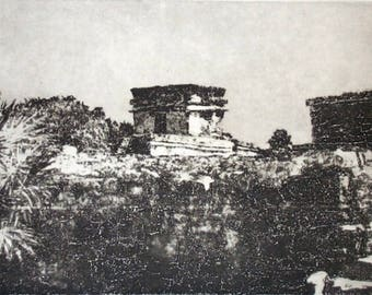 Tulum 6 original etching of Mayan ruins in Mexico