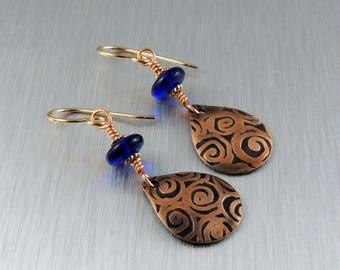 Etched Copper Earrings - Copper and Cobalt Blue Earrings - Copper Teardrop Earrings
