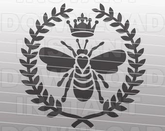 Bee SVG File -Queen Bee SVG File-  Bee with Laurel Wreath SVG - Commercial & Personal Use - Vector file for Cricut,Silhouette,vinyl cutting