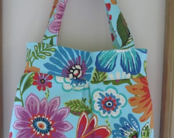 Canvas, Handbag, Purse, Ipad, Netbook, Tote, Shoulder bag ,Pleated bag, Made in USA Floral Bouquet on Tourquise