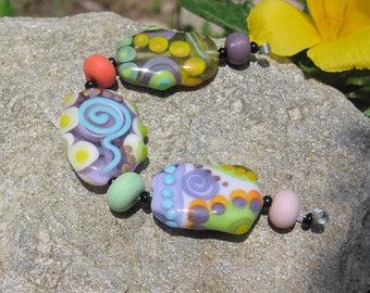 Pastel Abstract lampwork bead set~ Multicolor strand- SRA - Art Glass beads Lisa New Design