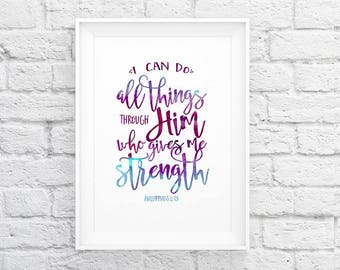 Printable art | Phil 4:13 | I can do all things | rainbow watercolor | typography Scripture print | Instant download| Bible verse art