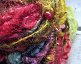 Handspun Art Yarn - Teeswater Wool Beaded Yarn - Curly Hand Dyed Art Yarn - OOAK Yarn - Rafaella