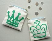 Crown Chess Piece Screenprinted Fabric Purse