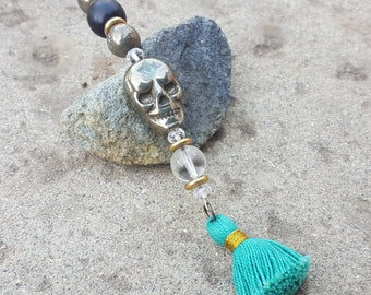 Pyrite Skull Rear View Mirror Charm with Turquoise Tassel - Grounding Energy Pyrite - Crystal Suncatcher