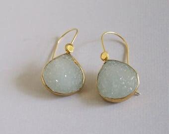 Druzy Drop Earrings Aqua Gold Earrings Aqua Druzy Aqua Summer Earrings Minimalist Gold Stone Aqua Dangle Earrings Gold Electroplated Stones
