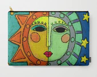 Sun and Moon Abstract Art Cosmetics Bag Clutch Bag Handbag Purse Carry All Pouch