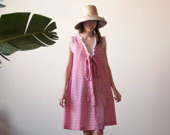 red white polka dot gingham pinafore dress / 70s cotton eyelet ruffle tent dress / s / m / 2262d