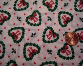 Quarter yard VINTAGE Christmas fabric HEART shaped wreaths with TINY red hearts doll sewing quilting crafting