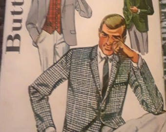 Butterick Vintage 2125 Mad men style Jacket and Vest Pattern Chest 36 Retro 1960s