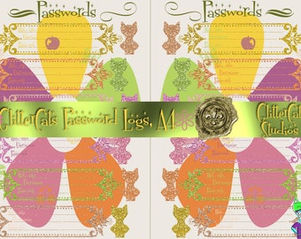 A4 Digital Downloadable Printable Password Planner Logs bright vivid pink green yellow orange summer-themed password keepers for web-sites