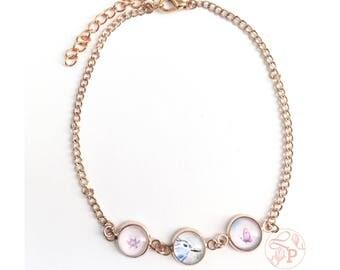 Rose gold blue bird anklet / bluebird rose gold jewellery / watercolour art glass jewellery / shabby chic blue bird anklet jewellery
