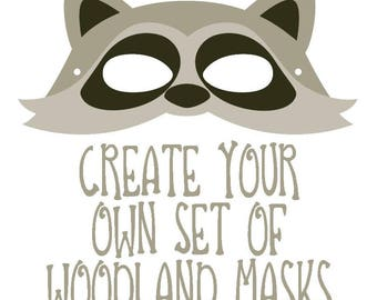 Create your own bundle of Woodland Creatures Animals Creative Play Party Favors Birthday Party Halloween Masks Fairy Garden Part